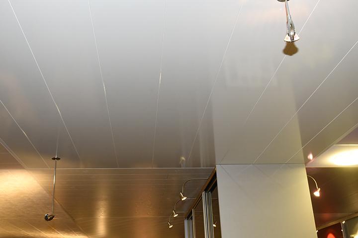 Panelenplafonds - Hoogglans wit panelenplafond met pendelspot